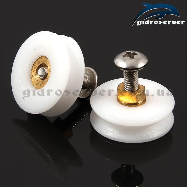 Колесики ролики для душевых кабин, штор для ванных, штор кабин, гидромассажных боксов с диаметром 22,5 мм.
