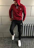 Костюм спортивний з капюшоном New Balance весна - осінь бордо з чорним (РЕПЛІКА)