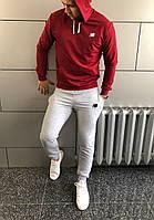 Костюм спортивний з капюшоном New Balance весна - осінь бордо з сірими штанами (РЕПЛІКА)