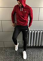 Костюм з капюшоном спортивний Найк Nike весна - осінь бордо чорні штани (РЕПЛІКА)