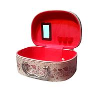 Шкатулка из эко кожи с камнями для украшений. Косметичка   чемоданчик с зеркалом