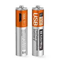 Аккумулятор AAA-micro USB 400 mAh ColorWay 2 шт 1.5V CW-UBAAA-01