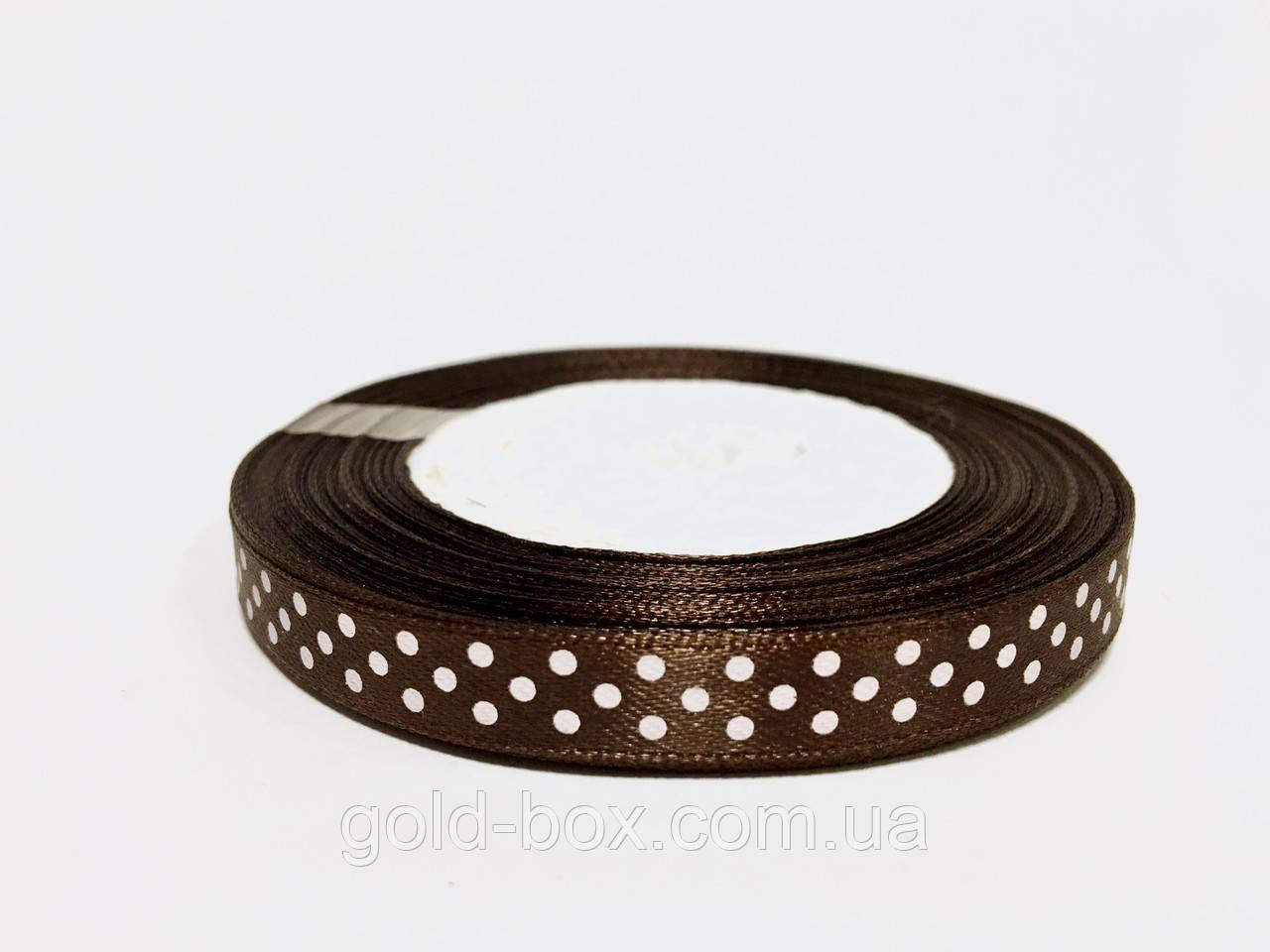 Атласная лента в горошек 1 см / 23м «Chocolate»