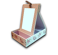 Шкатулка с большим зеркалом из эко кожи с камнями для украшений. Эйфелева башня