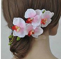 Красивая орхидея-заколка розовая от студии LadyStyle.Biz, фото 1