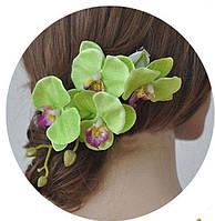 Красивая орхидея-заколка салатовая от студии LadyStyle.Biz, фото 1