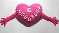 """Мягкая игрушка-подушка ручной работы """"Сердце с любовью"""", розовое, фото 1"""