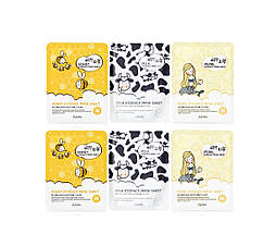 Набор из 6 тканевых масок ESFOLIO Pure Skin Milk, Pearls & Honey Essence (6 масок), 138 мл
