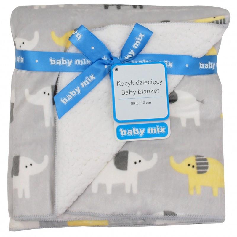 Плед Baby Mix SH-4957K 80x110 Слоники grey