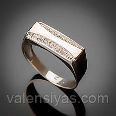 Перстень мужской серебряный с золотой вставкой