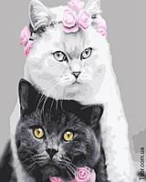 Картина по номерам Белая кошка черный кот