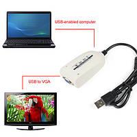 Внешняя USB 2.0 видеокарта VGA, дополнит. монитор