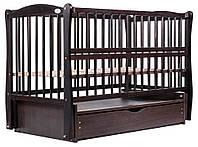 Кроватка детская для новорожденных Babyroom Элит с маятником с ящиком, откидной бок DEMYO-5 материал Бук Венге