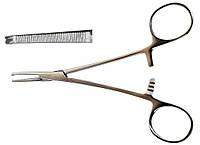 Зажим кровоостанавливающий, одно- и двузубый, зубчатый, прямой № 1, 150 мм   (Кохер)