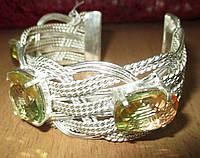 """Жесткий браслет """"Плетенка"""" с турмалиновым кварцем,  от студии LadyStyle.Biz, фото 1"""