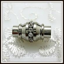 Магнитный замок Бочонок со стразами сталь (диам. 5 мм )