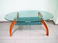 Стол журнальный стеклянный бежевый столик с полочкой стол стекло LF045 C16А 110х60