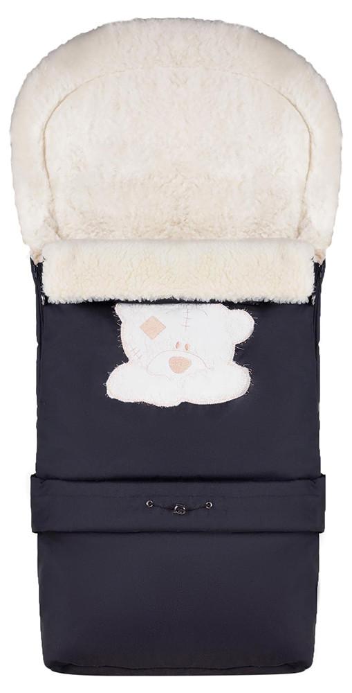 Зимний конверт Qvatro №20 с удлинением  черный (мордочка мишки штопаная)