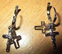 Серебристые серьги  с  крестиками  от студии LadyStyle.Biz, фото 1