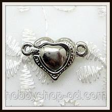 Магнитный замок Сердце сталь (2*1,4 см)