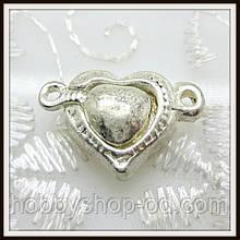 Магнитный замок Сердце св. серебро (2*1,4 см)
