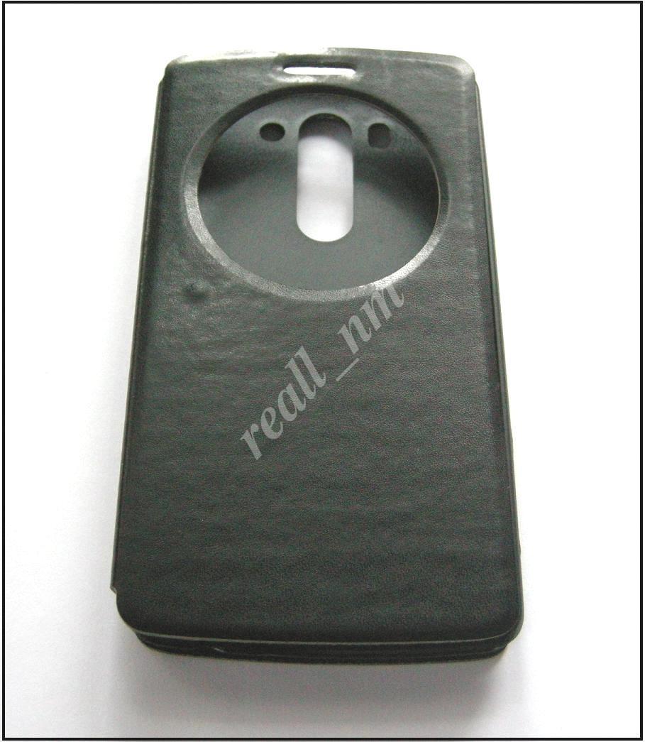 Черный чехол-книжка Air Case для смартфона LG G3 s (beats) D724 эко кожа PU