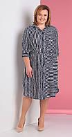 Платье Novella Sharm-3188 белорусский трикотаж, сине-белый+полоска, 58