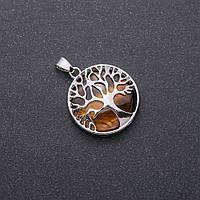 "Кулон из натурального камня Тигровый глаз в оправе ""Дерево"", диаметр 27мм"