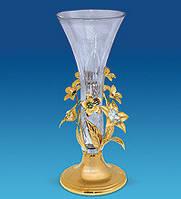 Кришталева ваза з позолотою Квіти