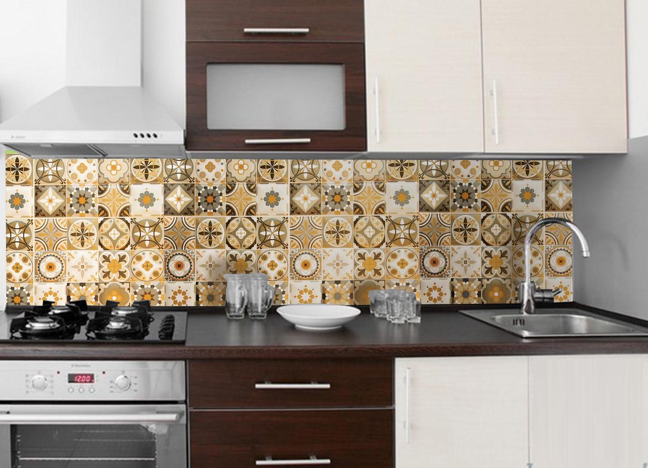 Кухонный фартук Плитка Орнамент 01 (наклейка на стеновую панель, плитка с узорами, абстракция) 600*2500 мм