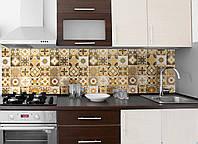Кухонный фартук Плитка Орнамент 01, (полноцветная печать, наклейка на стеновую панель, плитка с узорами) 600*2500 мм