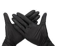 Перчатки нитриловые текстурированные, без пудры, черные, Extra
