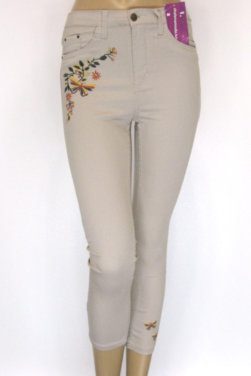 джинсы летние с вышивкой