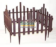 Забор для газона пластиковый 4 секции коричневый Алеана ALN-114042-3