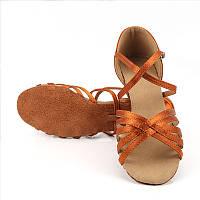 Сатиновые туфли детские для бальных танцев