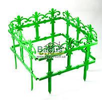 Забор для газона пластиковый ажурный 4 секции по 36см зеленый Гемопласт GP-21733-1