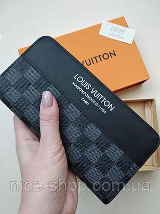 Кошелек Louis Vuitton, кожа, серая шахматка, фото 2