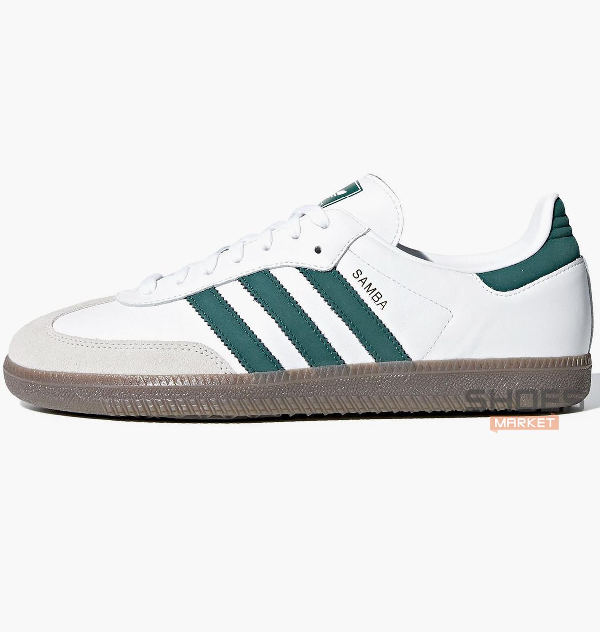 Мужские кроссовки Adidas Samba OG B75680 White/Green, оригинал
