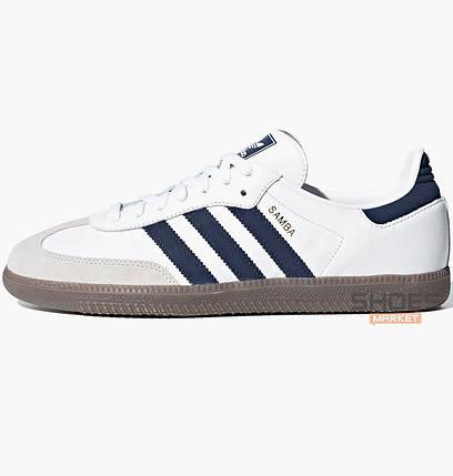 Мужские кроссовки Adidas Samba OG B75680 White/Navy, оригинал, фото 2