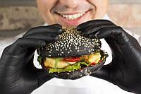 Перчатки черные для бургеров, ресторанов, фаст-фудов (100 шт/уп), фото 1