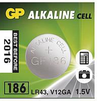 Батарейка часовая GP 186-U10 Alkaline G12, LR43 таблетка