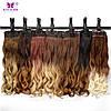 Волосы на заколках накладные, черный шоколад ,волосы омбре волнистые, тресс, фото 6