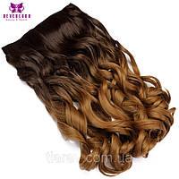 Волосы на заколках накладные, коричневый ,волосы омбре волнистые, тресс
