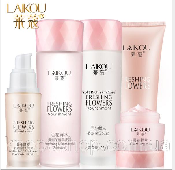 Набор Laikou Freshing Flowers(с цветком лотоса) в отдельных коробках 5 средств