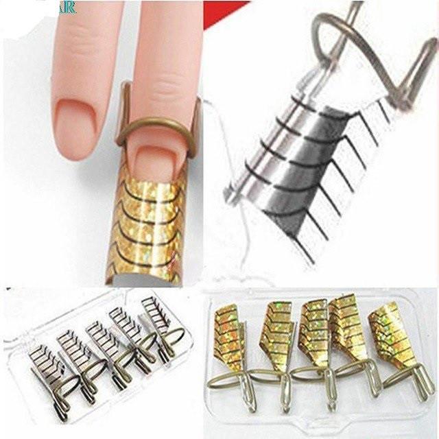 Формы для наращивания ногтей нижние многоразовые, 5 штук в упаковке