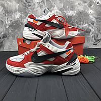 Мужские кроссовки Nike M2K Tekno x Off-White White\Red. Кожа. Замш, фото 1