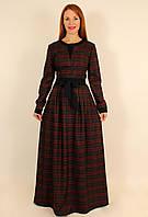 Теплое платье в клетку с длинным рукавом 48-50 р