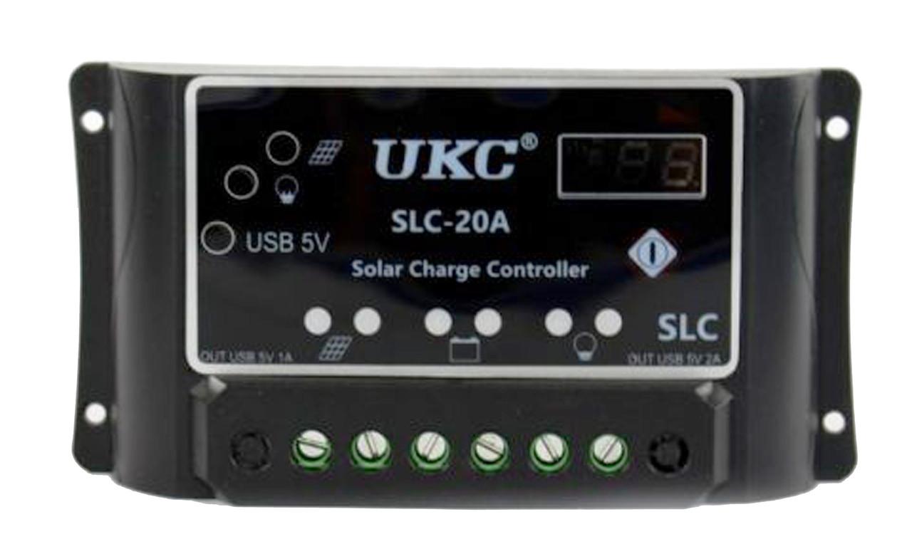 Контролер заряду сонячних батарей UKC 20А 17 режимів Black