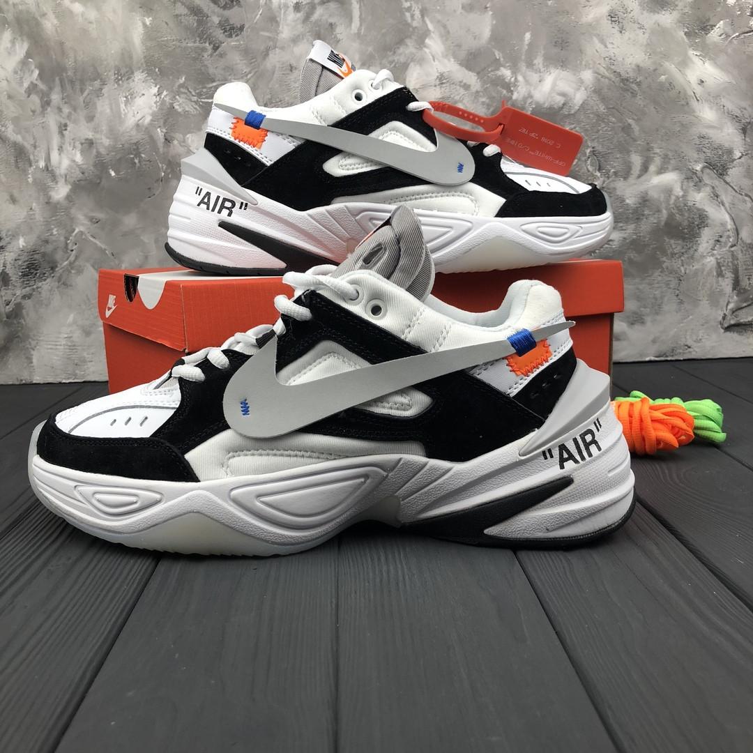b95c09e4 Мужские Кроссовки Nike M2K Tekno X Off-White White\Black. Кожа. Замш ...