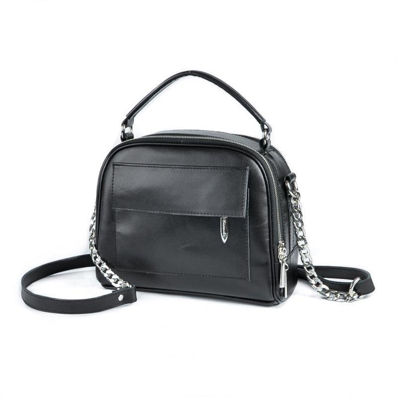 224a78375976 Кожаная сумка портфельчик М198 небольшая через плечо черная с ручкой -  Интернет магазин сумок SUMKOFF -